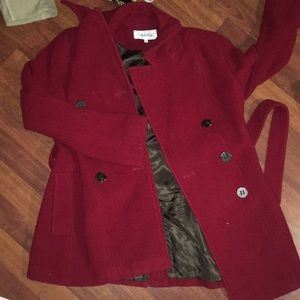 Red Calvin Klein Pea Coat